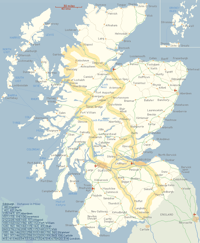 AboutScotland touring map of Scotland for the independent traveller – Scotland Tourist Attractions Map